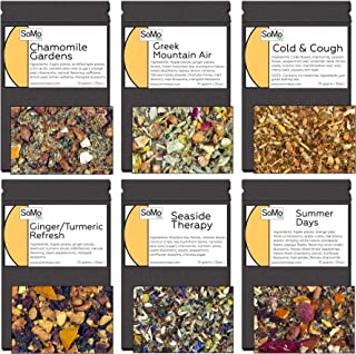 SoMo Tea, Premium Loose Leaf Tea Sampler Set | Wellness | 6 Flavor Relaxing Herbal and Fruit Tea, Feel Good Teas, Low and ...
