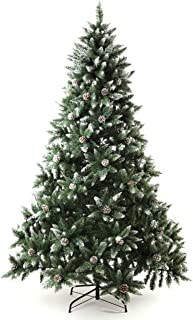 Senjie Artificial Christmas Tree 6,7,7.5 Foot Flocked Snow Trees Pine Cone Decoration Unlit (7 Foot Upgrade)