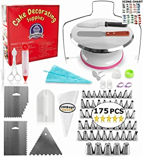 Aleeza Cake Wonders Frosted PRO Cake Decorating Kit - 175 pcs Cake Decorating Supplies with Metal Cake Turntable Stand, Frosting Bags and Tips (50 Piping Tips Set), Icing Cake Leveler, Cake Scraper