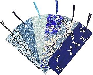 【Amazon.co.jp 限定】和紙かわ澄 友禅和紙 型染め しおり ブックマーカー 6枚入 青色系 Aセット