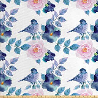 Lunarable Floral Fabric by The Yard, Watercolor Flower Petals and Bird Summer Spring Themed Artwork, Decorative Fabric for Upholstery and Home Accents, 1 Yard, White Blue