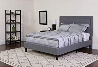 Flash Furniture Roxbury King Size Tufted Upholstered Platform Bed in Light Gray Fabric