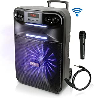 Pyle Wireless Portable PA System-600W Bluetooth Compatible Battery Powered Rechargeable Outdoor Sound Speaker Microphone Set with MP3 USB SD FM Radio AUX, LED Dj Lights, Wheels (PWMA447BT)