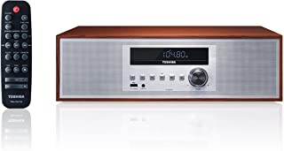 Toshiba TY-CWU700 Vintage Style Retro Look Micro Component Wireless Bluetooth Audio Streaming & CD Player Wood Speaker Sys...