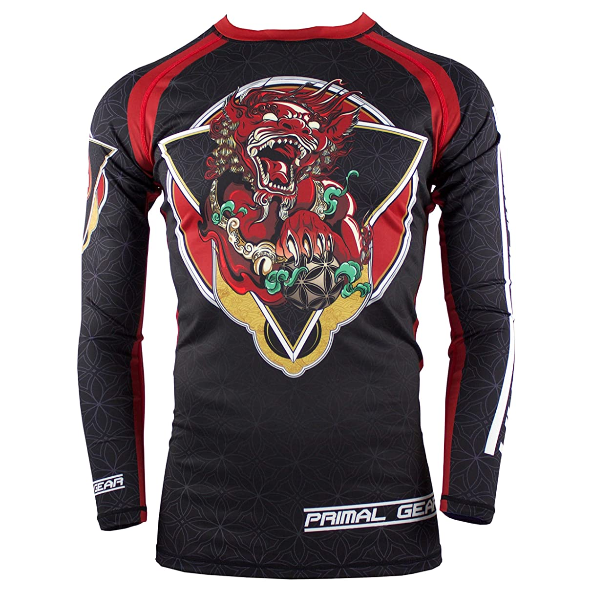 Primal Gear Foo Dog BJJ Compression Base Layer Rash Guard Shirt- BJJ, Jiu Jitsu