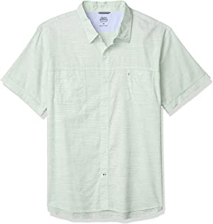 IZOD Men's Saltwater Dockside Chambray Short Sleeve Button Down Solid Shirt