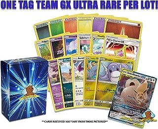 Pokemon 100 Card Lot Featuring 1 Tag Team GX Ultra Rare! 5 Energy - 2 Rares - 2 Foils! Includes Golden Groundhog Storage Box!