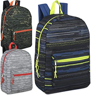 17 Inch Printed Backpacks For Boys & Girls Wholesale Bulk Case Pack Of 24 (Boys 3 Color Assortment)