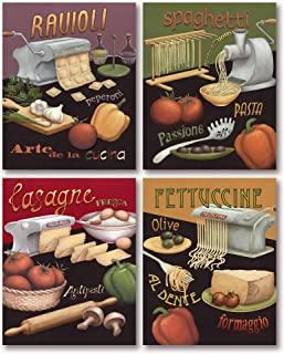 Colorful Italian Cooking Prints; Spaghetti, Lasagna, Fettuccine, Ravioli (Four 8x10 Posters)