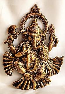 Akriti Brass Art Wares Metal Lord Ganesha Dhoti Ganesh, Ganesh Wall Hanging for Entrance Door, Living Room, Decorative Wal...