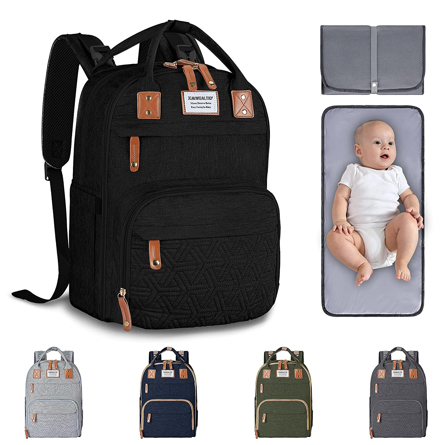 Baby Diaper Bag Backpack, Large Unisex Baby Bags for Boys Girls, Multifunction Travel Baby Back Pack, Waterproof & Stylish Baby Changing Bags with Changing Pad & Stroller Straps, Black