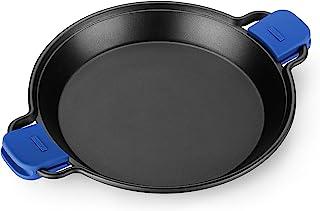 MONIX Solid+ - Paellera 36cm de aluminio fundido con antiadherente y asas de silicona azules desmontables, apta para todo tipo de cocinas e inducción