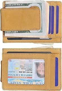 Easyoulife Men's RFID Slim Front Pocket Wallet with Money Clip Genuine Leather