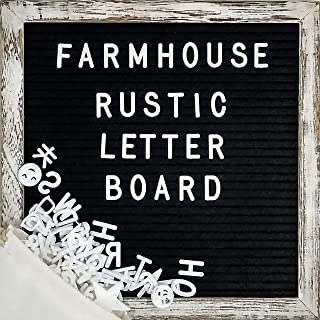 Felt Letter Board with 10×10 Inch Rustic Wood Frame, Script Words, Precut Letters,..