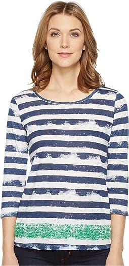 Burnout 3/4 Sleeve Combo Stripe Top