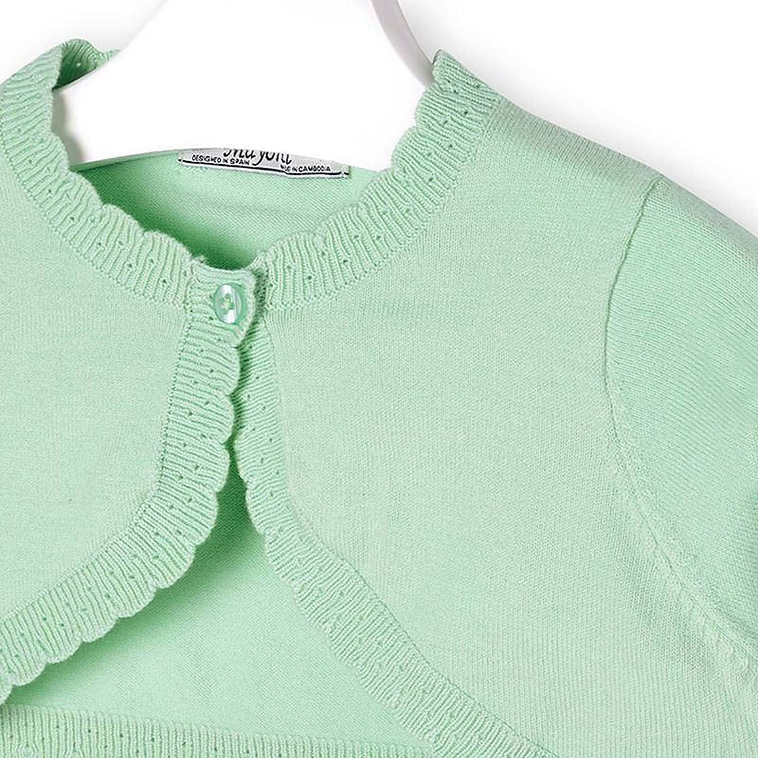 Mayoral Girls 2T-9 Apple-Green Scallop Edge Knit Shrug Cardigan Sweater