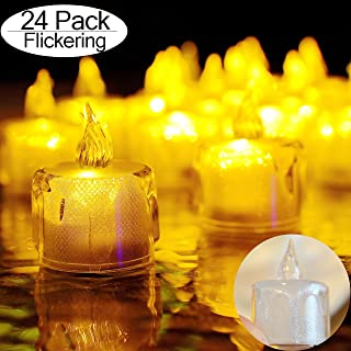 Tea Lights 24 Pack LED Flameless Flickering Candles 100+ Hours Battery-Powered Fluorescent Tealight Candles for Party Wedding Birthday Gifts Home Decoration (Warm Yellow)