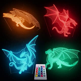 Dragon Night Light–4 Patterns Dragon Lamp For Kids- 16 Colors Changing Nightlight With Remote- 3D Optical Illusion Dragon ...