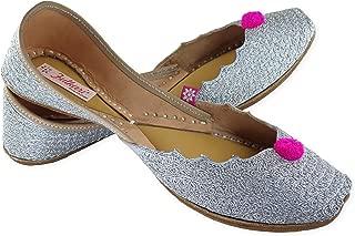 Fulkari Prime Zalwa Women's Soft Leather Bite and Pinch Free Punjabi Flat Ladies Jutti Ethnic Mojari Shoe
