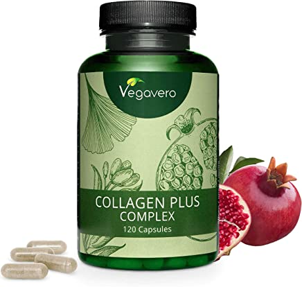VEGAVERO® Collagen Complex Vegan | NO Animal Ingredients | Without additives | with Pomegranate, Goji Berries, Acerola, Ginseng, Rose Hip, Lysine and Proline | 120 Capsules