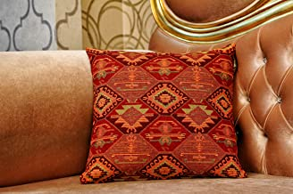 HG Home Throw Pillow Covers, Native American Style, Kilim Pattern, Durable Cotton Linen Square Decorative Throw Pillows, Cushion Covers for Sofa (18''x18'' 2 in Pack) Brown Variation Pillow case