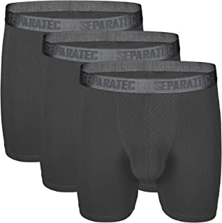 Separatec Men's 3 Pack Soft Modal Stylish Drop Needle Striped Boxer Briefs Underwear