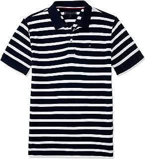 TOMMY HILFIGER Kids Pure Cotton Stripe Polo, Bright White/Black Iris