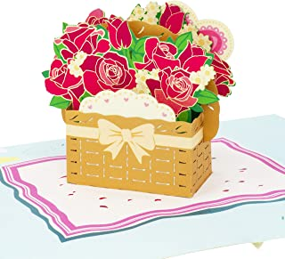Paper Love Flower Basket Pop Up Card, 3D Popup Greeting Cards, For Mothers Day, Fathers Day, Graduation, Spring, Valentines Day, Birthday, Thank You, Any Occasion