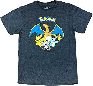 Pokemon Classic Pikachu Charizard Squirtle Meowth Dark Grey Heather T-Shirt