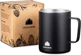 Groenenberg Mugg i rostfritt stål 350 ml | dubbelväggig kaffekopp med termisk effekt, matt svart | kaffemugg utomhus med d...