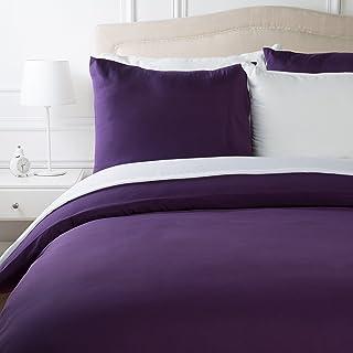 AmazonBasics Parure de lit en microfibre, violet prune, 240 cm x 220 cm/65 cm x 65 cm x 2