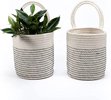 Signature Home - Cesta colgante de 2 piezas, cesta pequeña de 20 x 17 cm, cestas colgantes para organizar, cesta de pared de