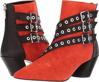 Shellys London Frasier Red Suede Grommet Buckle Strap Angled Block Heel Boot (36)