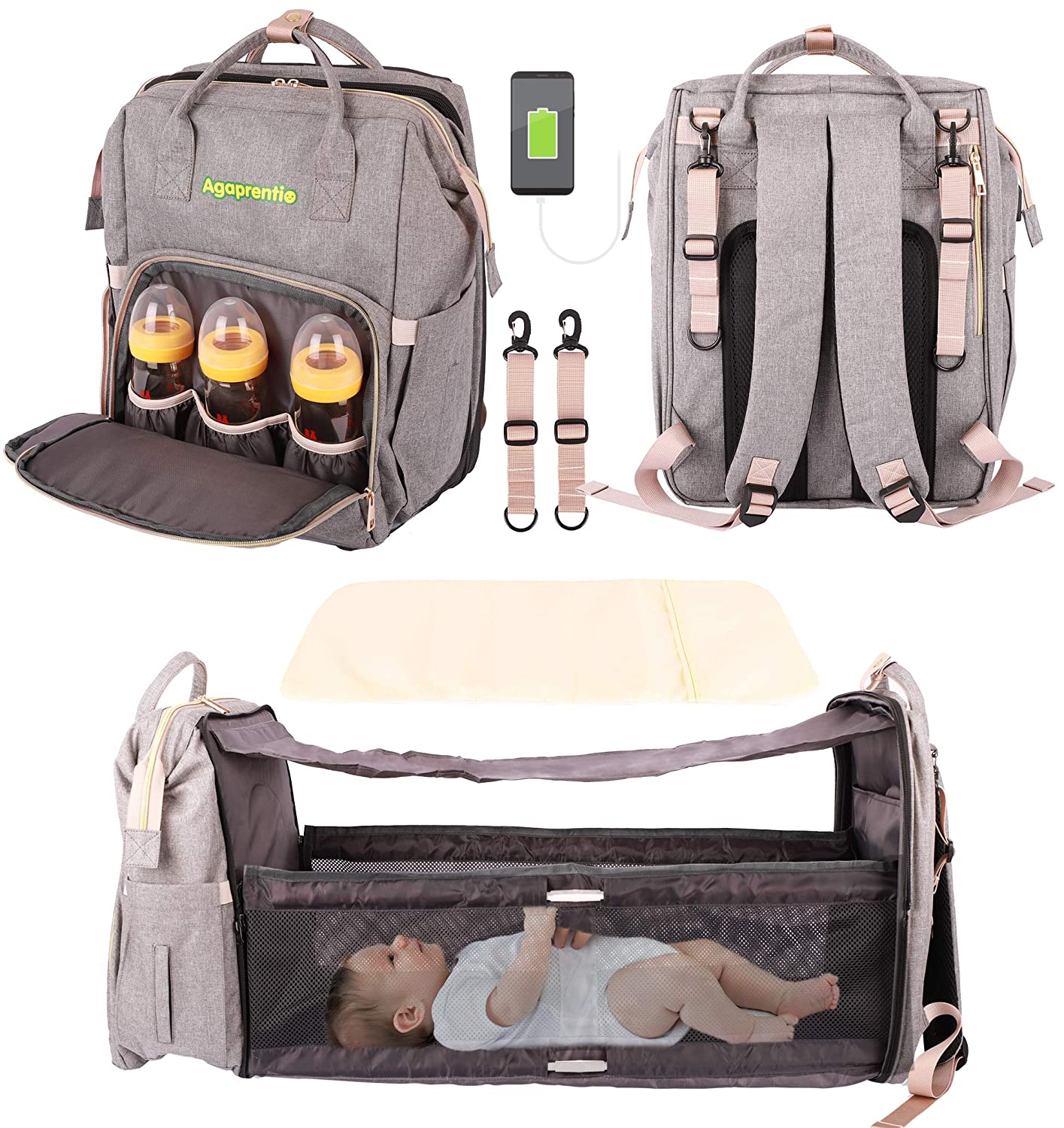 Diaper Bag with Changing Station Bassinet 3 in 1 Backpack Bags Foldable Bed Crib and 13 Functional Pockets, Built-in USB Charging Port and Stroller Straps (Grey)