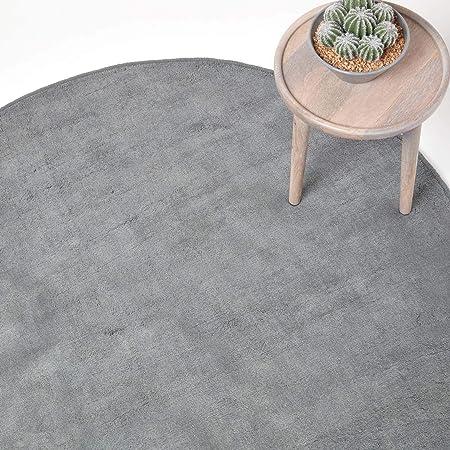 Homescapes Tapis décoratif Rond Couleur Gris 70 cm de diamètre en 100% Coton