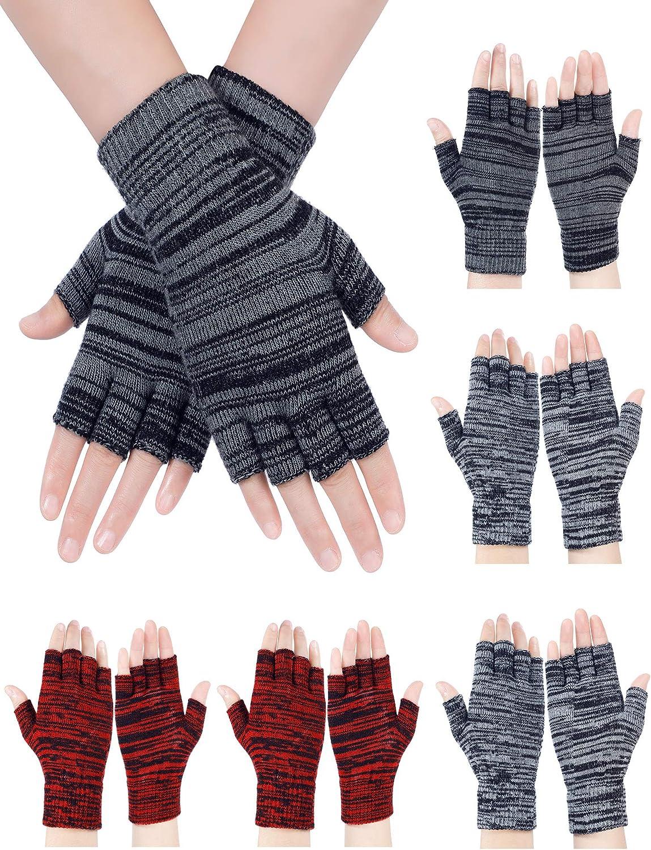 6 Pairs Half Finger Gloves Unisex Fingerless Gloves Winter Knit Gloves Stretchy Typing Gloves Mittens