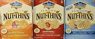 Blue Diamond Wheat & Gluten Free Nut & Rice Crackers 3 Flavor Variety Bundle: (1) Cheddar Cheese (1) Hint Of Sea Salt (1)Smokehouse - 4.25 Oz Each