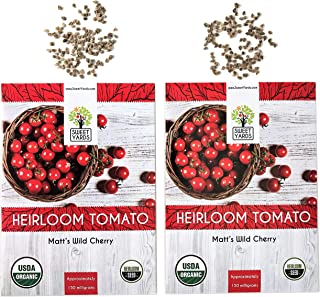 Organic Matt's Wild Cherry Tomato Seeds - 2 Seed Packets! - Over 100 Heirloom Non-GMO USDA Organic Seeds