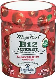 MegaFood, B12 Energy Cranberry Gummies, Soft Chew Vitamin B12 Supplement for Cellular Energy Support, Gluten Free, Vegan, 90 Gummies (45 Servings)