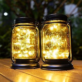 Hanging Solar Lantern Lights 2 Pack,Vintage Mason Jar Fairy String Light Outdoor Decorative Waterproof Table Light for Pat...