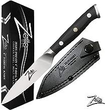 Zelite Infinity Paring Knife 4 Inch - Alpha-Royal German Series - German High Carbon Stainless Steel - Pakkawood Handle, Leather Sheath