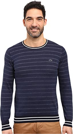 Long Sleeve Double Face Chine Stripe Crew Neck Sweater