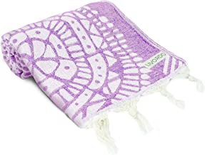 Livordo Turkish Beach Towel Soft, Absorbent 100% Cotton Made in Turkey Quick Dry Lightweight Bath Sheet, Sarong, Pareo, Wrap, Pestemal, Scarf, Spa, Yoga, Gym, Hiking, Camping (Lilac)