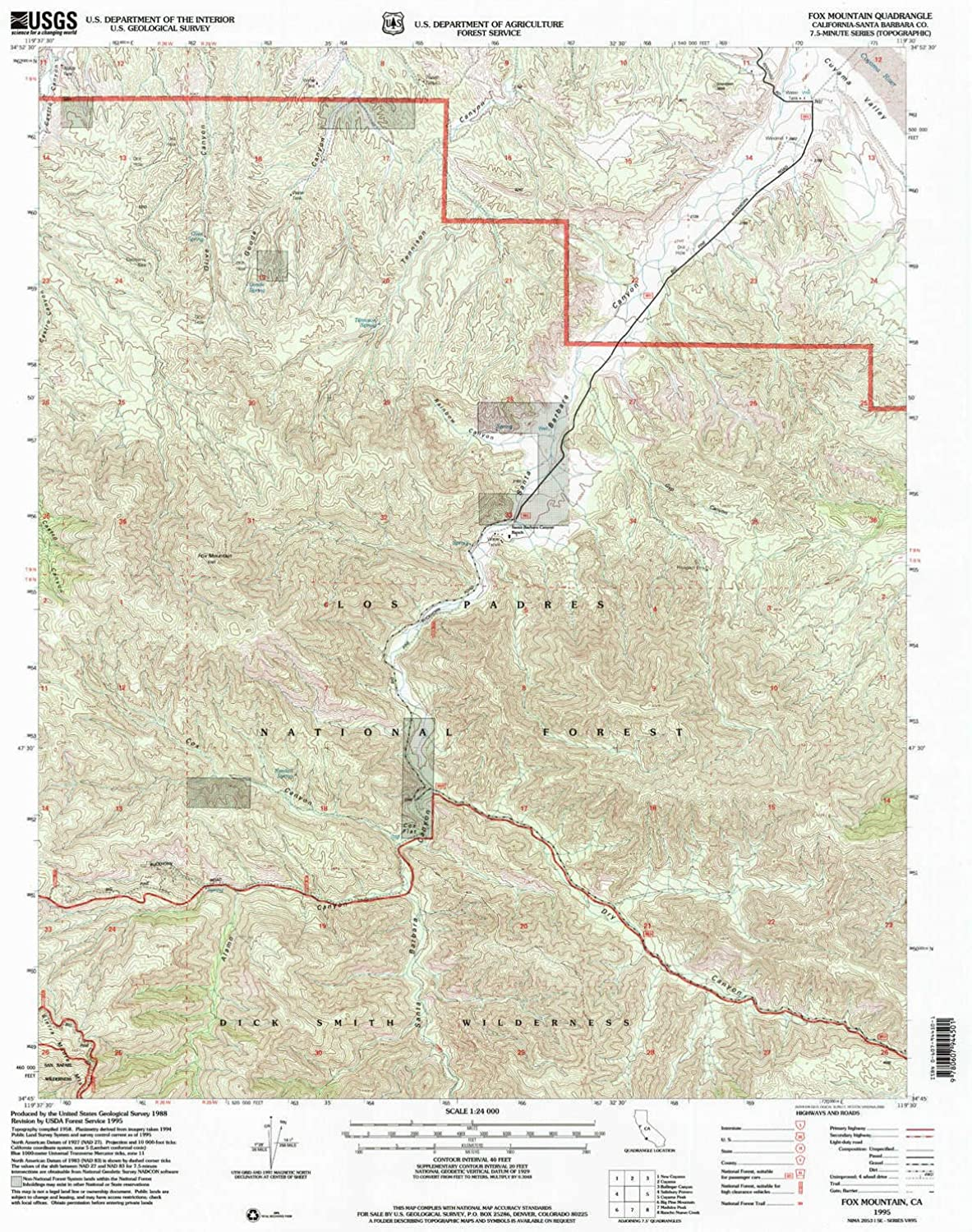 Fox Mountain CA topo map, 1 24000 Scale, 7.5 X 7.5 Minute, Historical, 1995, Updated 2000, 26.7 x 21.5 in