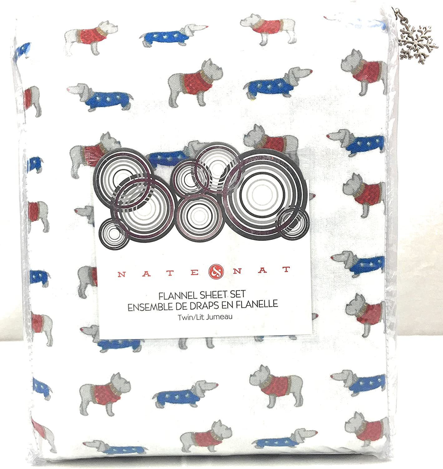 Nate and Nat Twin Dogs  Bull Dogs and Dacshunds Flannel Sheet Set