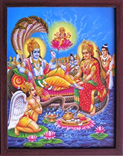 Handicraft Store Ananta Sayanam Vishnu with Brahma, Holy Religious Poster Explain Various aspects of Indian Religious God Must for House and Worship
