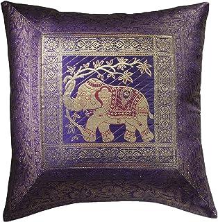 Comercio justo Indian brocado trabajo elefante algodón coj