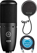 AKG P120 Cardioid Condenser Microphone for Voiceovers, Vocals, Pianos, Guitars, and String Instruments Bundle with Blucoil 10-FT Balanced XLR Cable, and Pop Filter Windscreen