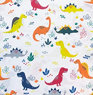 Dinomite Digs 3pc Kids Sheet Set Colorful Dinosaurs on White 100% Cotton Sateen - Prehistoric Adventure (Twin)
