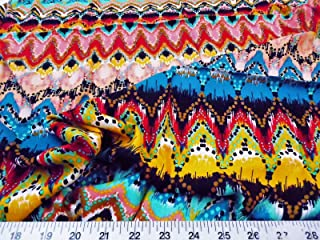 Paylessfabric Fabric Challis Rayon Apparel Tribal Ikat Red Pink Turquoise Yellow F310